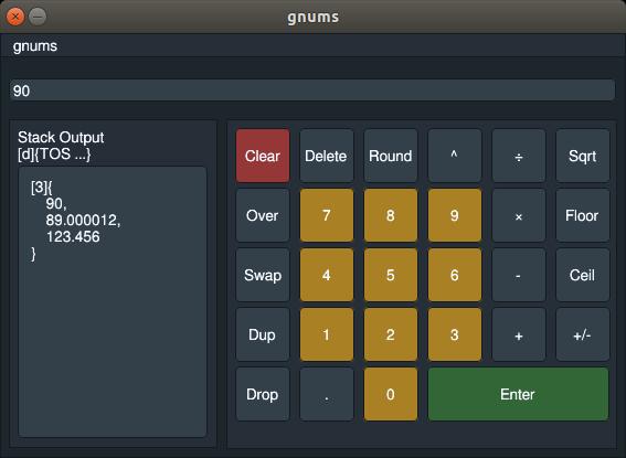 screenshot of the nums calculator interface